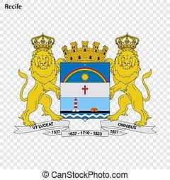 Emblem of Recife. City of Brazil. Vector illustration