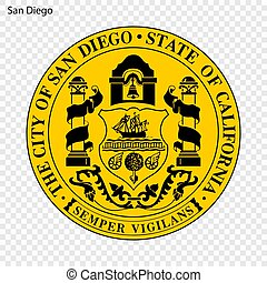 Emblem of San Diego. City of USA. Vector illustration