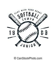 Emblem of softball junior team. Graphic design for t-shirt....