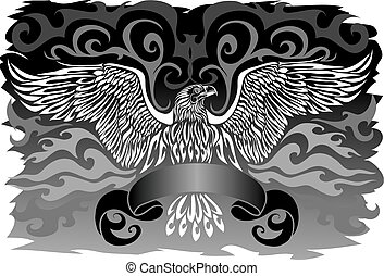 emblem of spread wings as coat of arms or banner on black background, vector illustration,