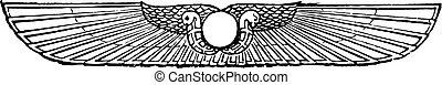 Emblem of the sun, vintage engraving.