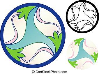 prosperity - Emblem of three budding flowers, representing ...