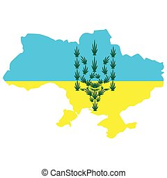 emblem of Ukraine from cannabis leaves on the background of the yellow pigeon of the territory map. the concept of legalization of marijuana in Ukraine, decriminalization of soft drugs and the use of hemp for medical purposes.