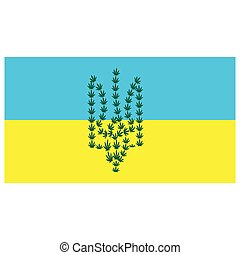 emblem of Ukraine from hemp leaves on a background of yellow-blue flag. the concept of legalization of marijuana in Ukraine, decriminalization of soft drugs and the use of hemp for medical purposes.