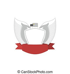 Emblem of White Bird with shield. Hawk military logo. Vector illustration.