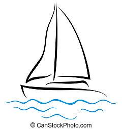 Emblem of Yacht - Symbol of ship sailing on the sea