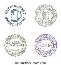 Emblem Oktoberfest Set, vector