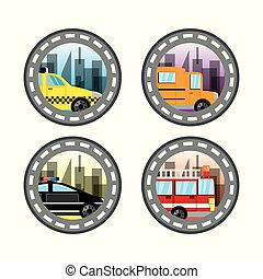 emblem related with taxi, bus, police and fire truck in a beautiful city