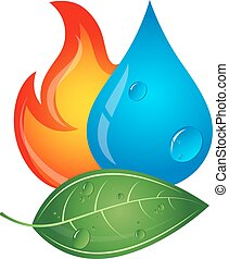 Emblem renewable energy sources, fire, water drop and green...
