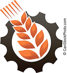 Emblem representing industry and agriculture with a ripe...