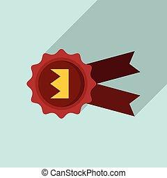 Emblem reputation icon, flat style - Emblem reputation icon...