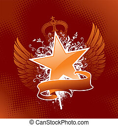 emblem, ritterwappen, vektor, -, stern
