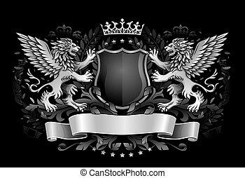 emblem, schutzschirm, geflügelt, dunkel, loewen, besitz