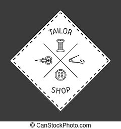 emblem, skräddare, emblem.