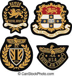 emblem, skydda, emblem, kunglig