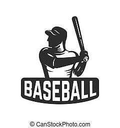 emblem template with baseball player. Design element for logo, label, emblem, sign.