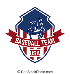 emblem template with baseball player. Design element for logo, label, emblem, sign.
