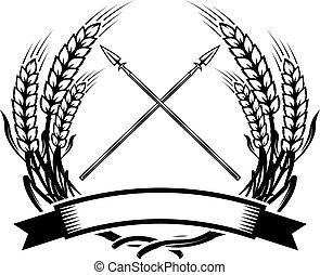 Emblem template with crossed lances. Design element for logo, label, emblem, sign. Vector illustration