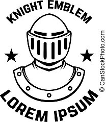 Emblem template with knight armor. Design element for logo, sign, label, badge.
