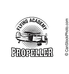 emblem template with retro airplane. Design element for logo, label, emblem, sign.