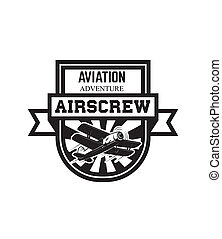 emblem template with retro airplane. Design element for logo, label, emblem, sign.