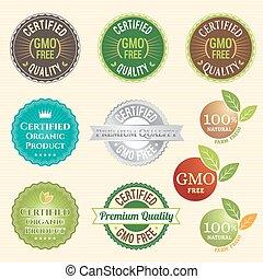 emblem, växt, gmo, organisk, märke, non, gratis, etikett, ...