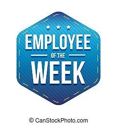 emblem, vecka, vektor, anställd