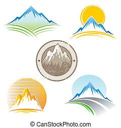 emblem, vektor, sæt, bjerge