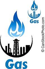 emblem, verarbeitung, gas, fabrik, oder, ikone