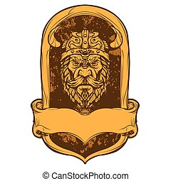 Emblem viking head illustration
