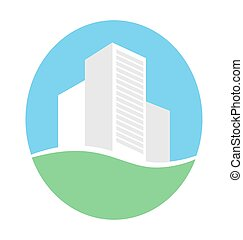Emblem with buildings in eco place isolated on white