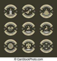 emblem with christmas symbols, set