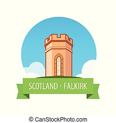 Emblem with European Castle in Sunny day - Falkirk, Scotland...