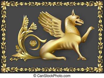 Emblem with golden gryphon