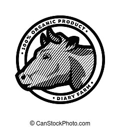 Emblem with head of a cow , in an engraved style. Vector illustration.