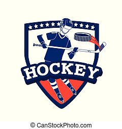 emblem with hockey player and professional equipment