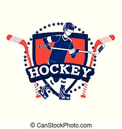 emblem with hockey player and professional unifom