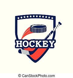 emblem with hockey sticks and puck equipment