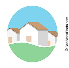 Emblem with houses in eco place isolated on white