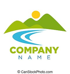 Emblem with place for company name and landscape - Emblem...