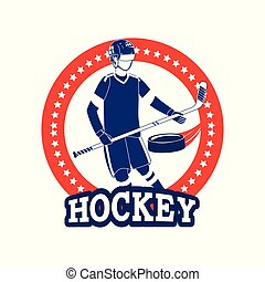 emblem with professional hockey player and equipment