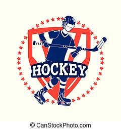 emblem with professional hockey player and uniform