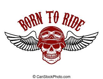 Emblem with racer skull and wings.  Design element for logo, label, emblem, sign, badge.