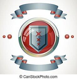 Emblem with ribbons.