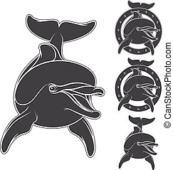 Emblem with the logo of a dolphin.