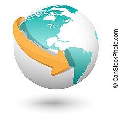 Emblem with white globe and orange arrow isolated on white