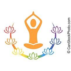 Emblem Yoga pose with chakra lotuses isolated on white