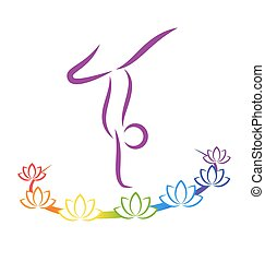 Emblem Yoga pose with chakra lotuses on grayscale