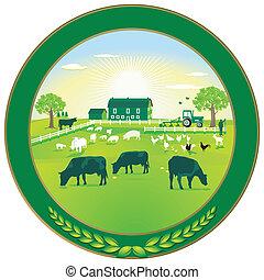 emblema, agricultura, verde