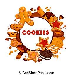emblema, alimento, isolado, ou, panificadora, biscoito, massa, redondo